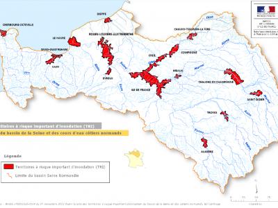 Carte des TRI sur le bassin Seine Normandie