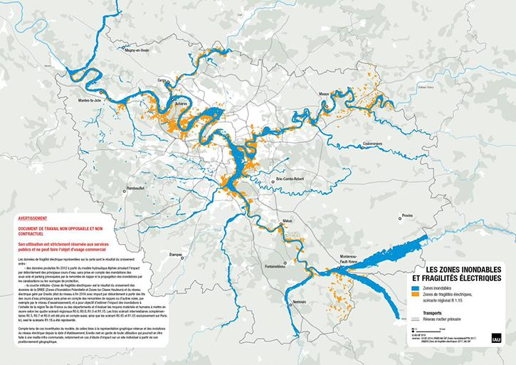 Carte des zones de fragilité électrique (en orange) en Ile-de-France
