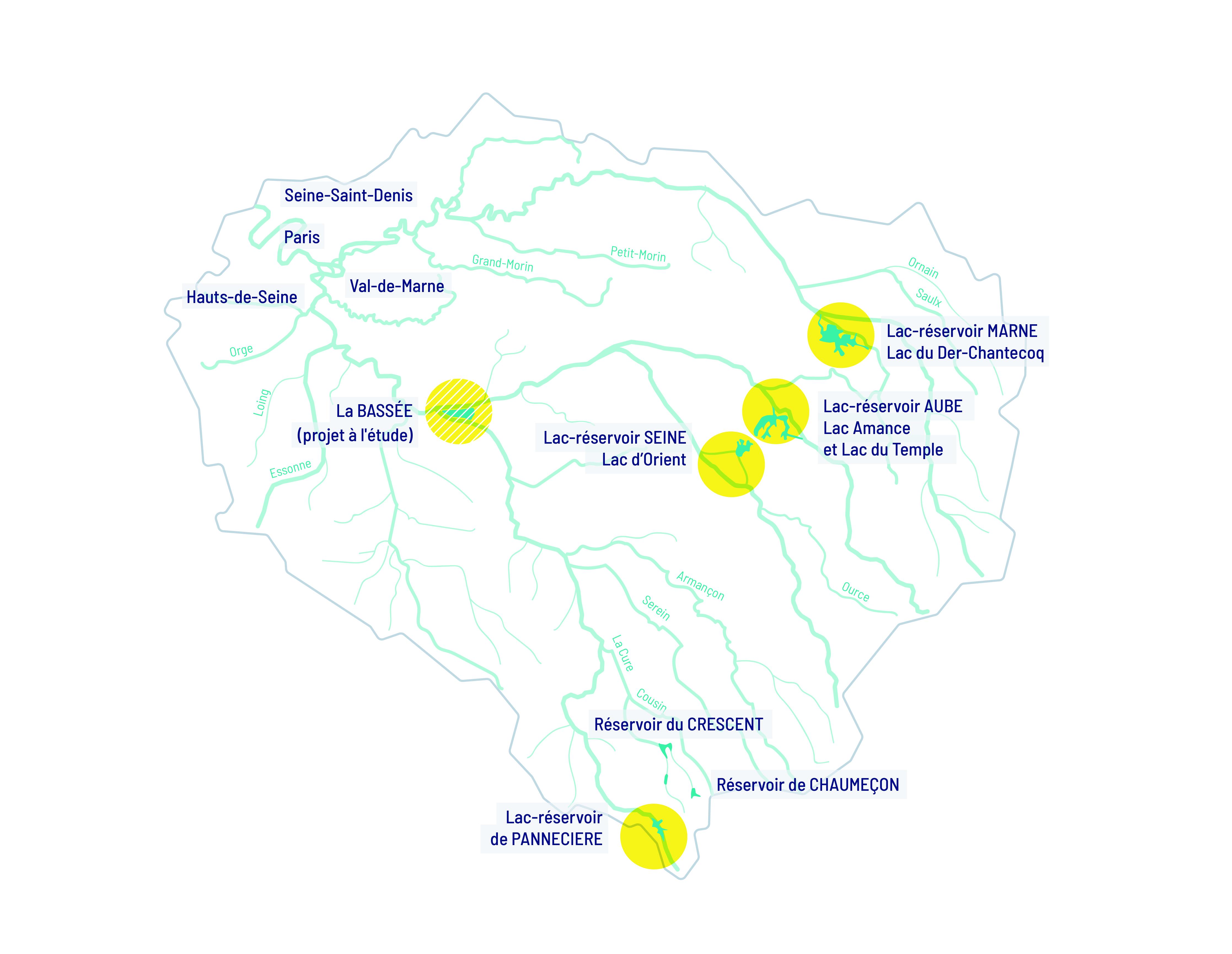 : localisation des 4 lacs-réservoirs de l'EPTB Seine Grands Lacs et du projet de la Bassée