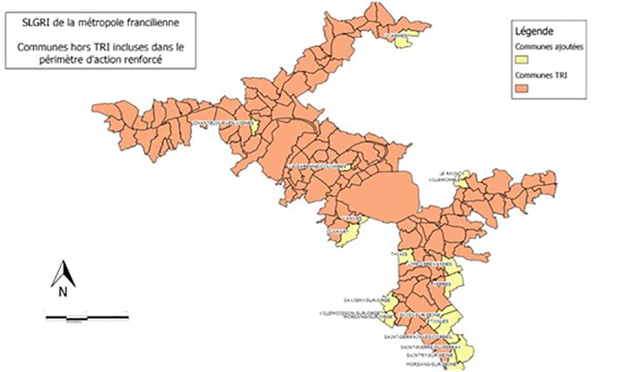 Les communes TRI du périmètre de la SLGRI de la métropole francilienne