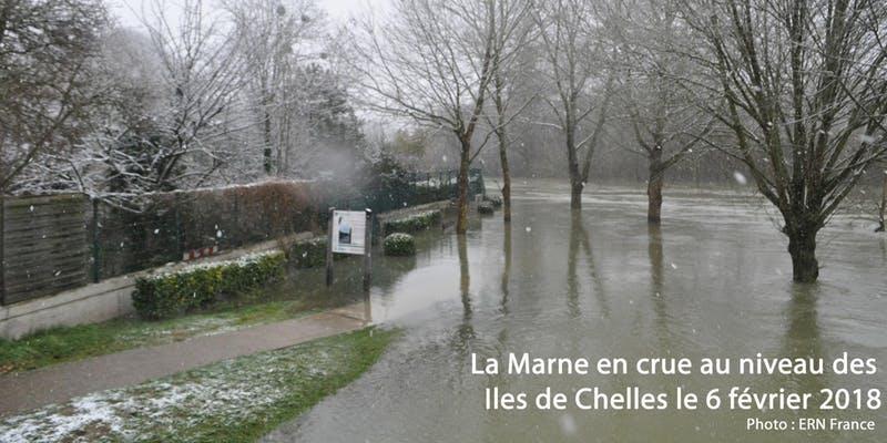 La Marne en Crue au niveau des iles de Chelles en 2018 - ERNF