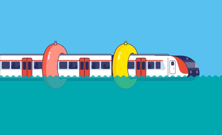 """Illustration """"Quelle taille devrait avoir sa bouée si votre RER prenait un bain ?"""""""